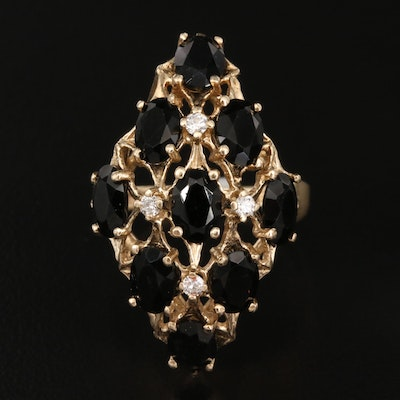 14K Black Onyx and Diamond Openwork Ring