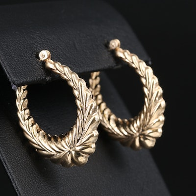 14K Palmette Oval Hoop Earrings