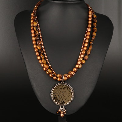 Silpada Sterling Hammered Disc Necklace Including Tiger's Eye and Pearl