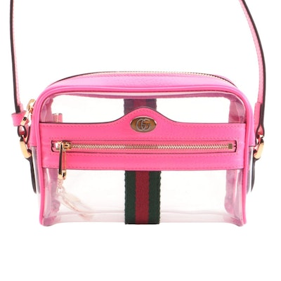 Gucci Ophidia Mini Crossbody Bag in Transparent PVC with Neon Leather Trim