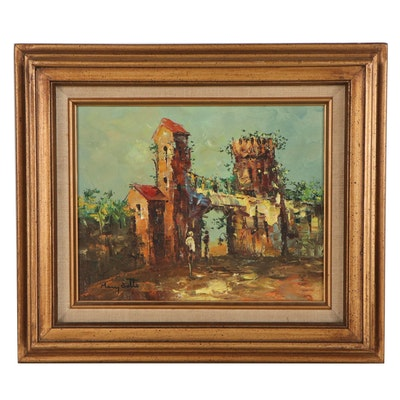 Mary Botto European Village Scene Oil Painting, Late 20th Century