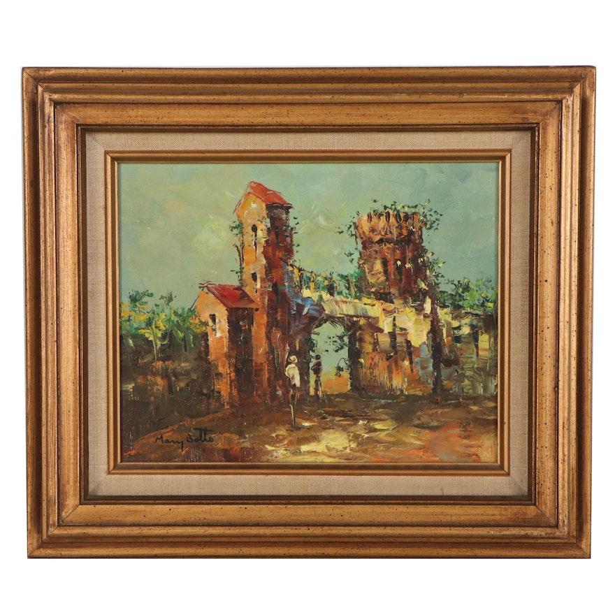 Mary Botto European Village Scene Oil Painting, Late 20th Century