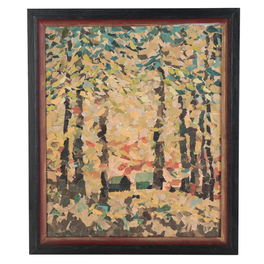 Forest Landscape Torn Paper Collage, Late 20th Century