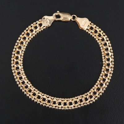 Italian 14K Double Curb and Bead Chain Bracelet