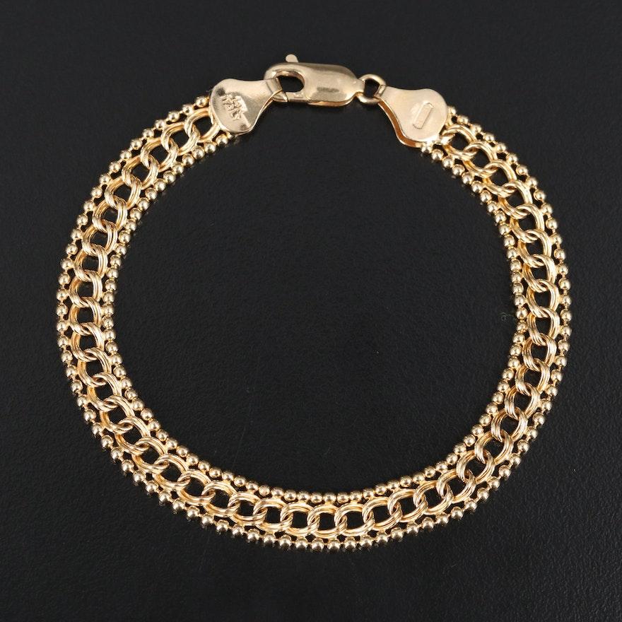 Italian 14K Double Curb and Bead Chain Bracelet