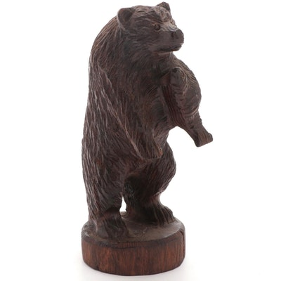 Hand-Carved Black Forest Walnut Figure of a Bear, Early 20th Century