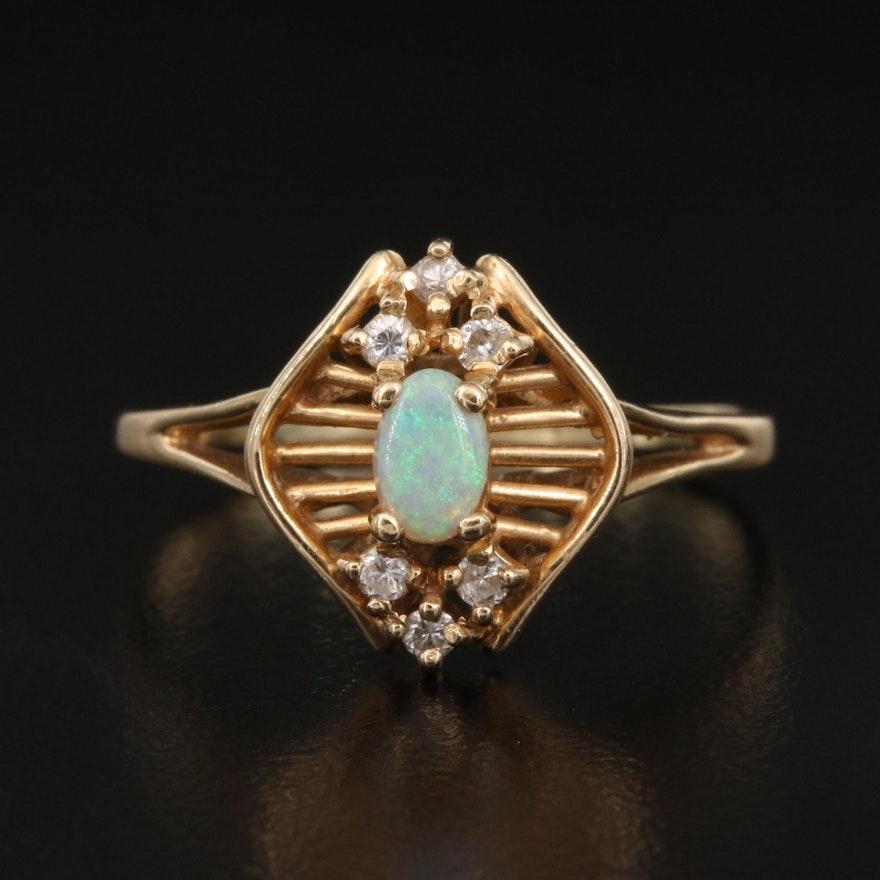 14K Opal and Diamond Openwork Ring