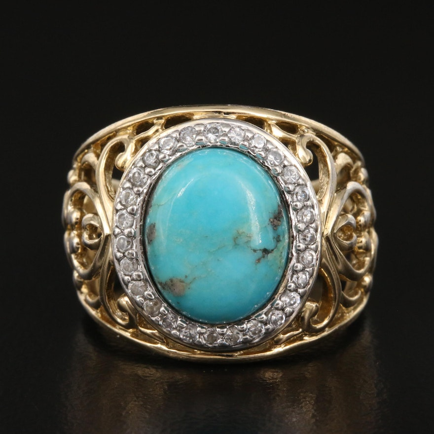 Sterling Turquoise and Cubic Zirconia Openwork Ring