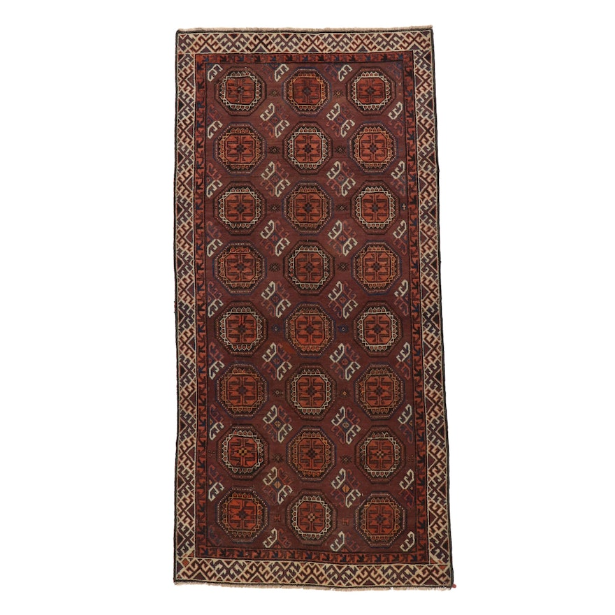 4'1 x 8'5 Hand-Knotted Persian Baluch Long Rug