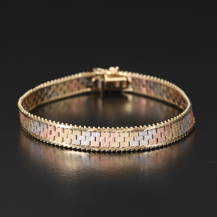 Italian 14K Tri-Color Gold Bracelet