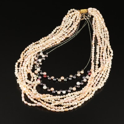 Lia Sophia Double Strand Gemstone Beaded Necklace and Pearl Torsade Necklace