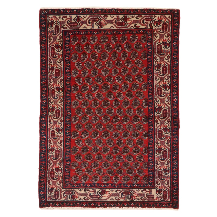 3'3 x 4'8 Hand-Knotted Persian Hamadan Accent Rug