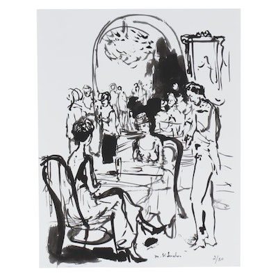 Murat Kaboulov Abstract Giclée of Restaurant Scene, circa 2000