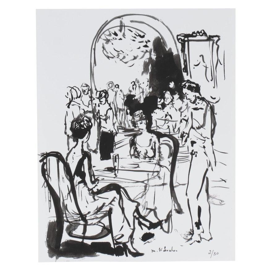 Murat Kaboulov Abstract Giclée of Restaurant Scene, circa 2000