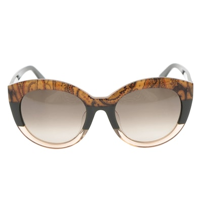 ETRO ET600SA Paisley Green Modified Cat Eye Sunglasses