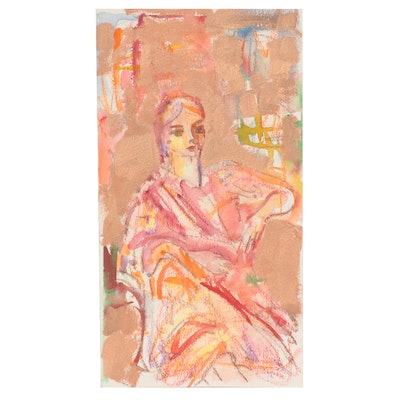 Murat Kaboulov Mixed Media Painting of Seated Figure, circa 2000