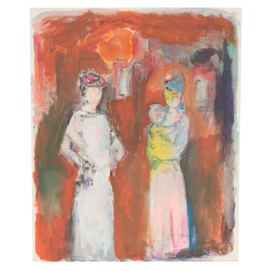 Murat Kaboulov Abstract Mixed Media Painting of Two Figures with Small Child