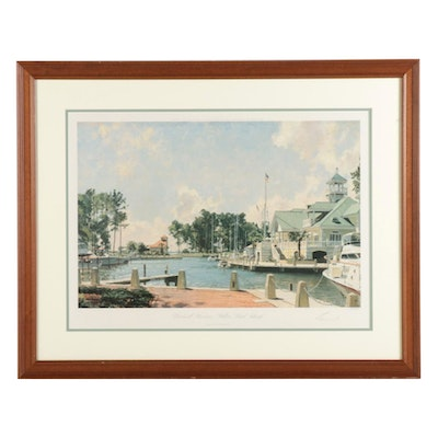 "John Stobart Offset Lithograph ""Windmill Harbour, Hilton Head Island"""