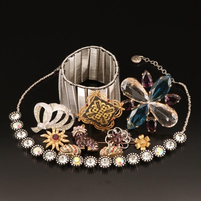 Jewelry Including Damascene, Dog Brooch, Rhinestones, Enamel and Faux Pearl