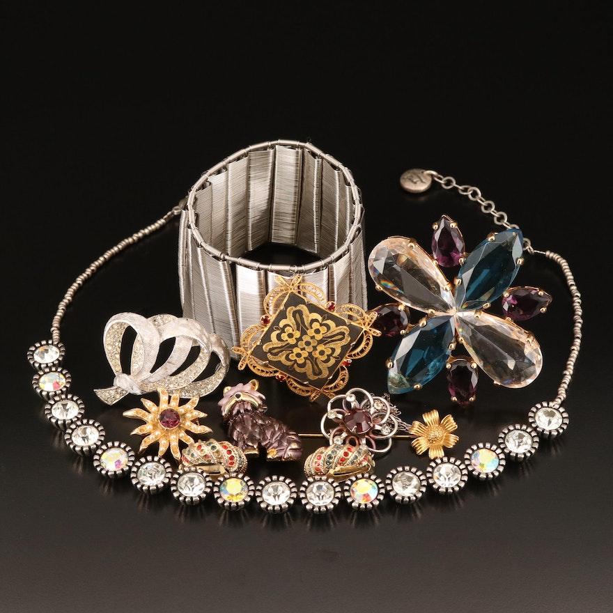 Jewelry Including Damascene, Dog Brooch, Rhinestones, Enamel and Faux Pearl