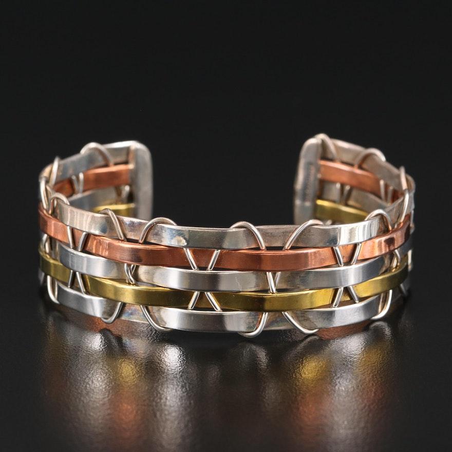Mexican Sterling Silver, Brass and Copper Interwoven Cuff