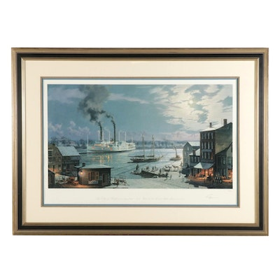 "John Stobart Offset Lithograph "" The City of Hartford Arriving From New York"""
