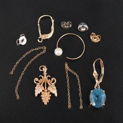 10K and 14K Gold Scrap Jewelry Including Topaz and Pearl
