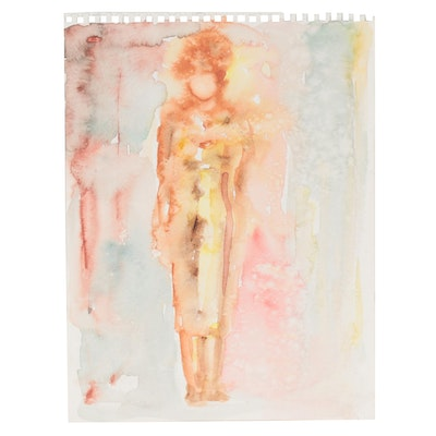 Murat Kaboulov Abstract Watercolor Painting of Standing Figure, circa 2000