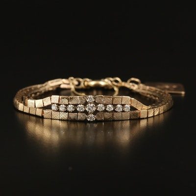 Italian 14K Diamond Bracelet with Charm