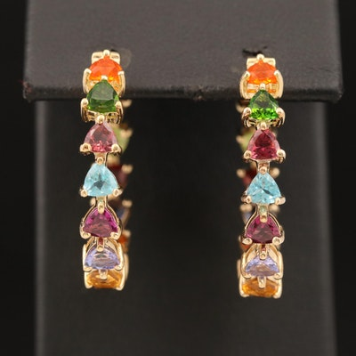 Sterling Inside-Out Hoop Earrings Including Fire Opal and Diopside