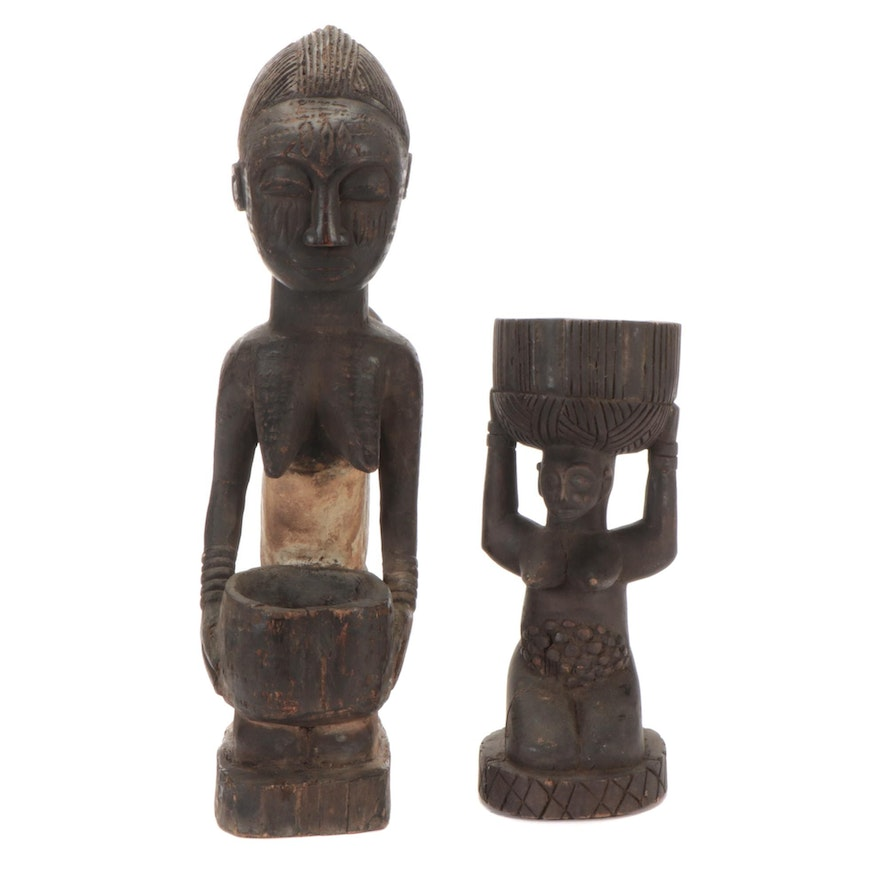 Yoruba Style and Central African Hand Carved Wooden Offering Figures