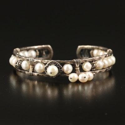 Silpada Sterling Pearl Openwork Bracelet