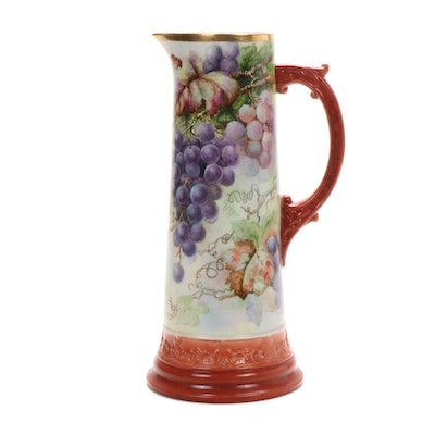 Hobbyist Hand-Painted Porcelain Pitcher, Late 19th Century