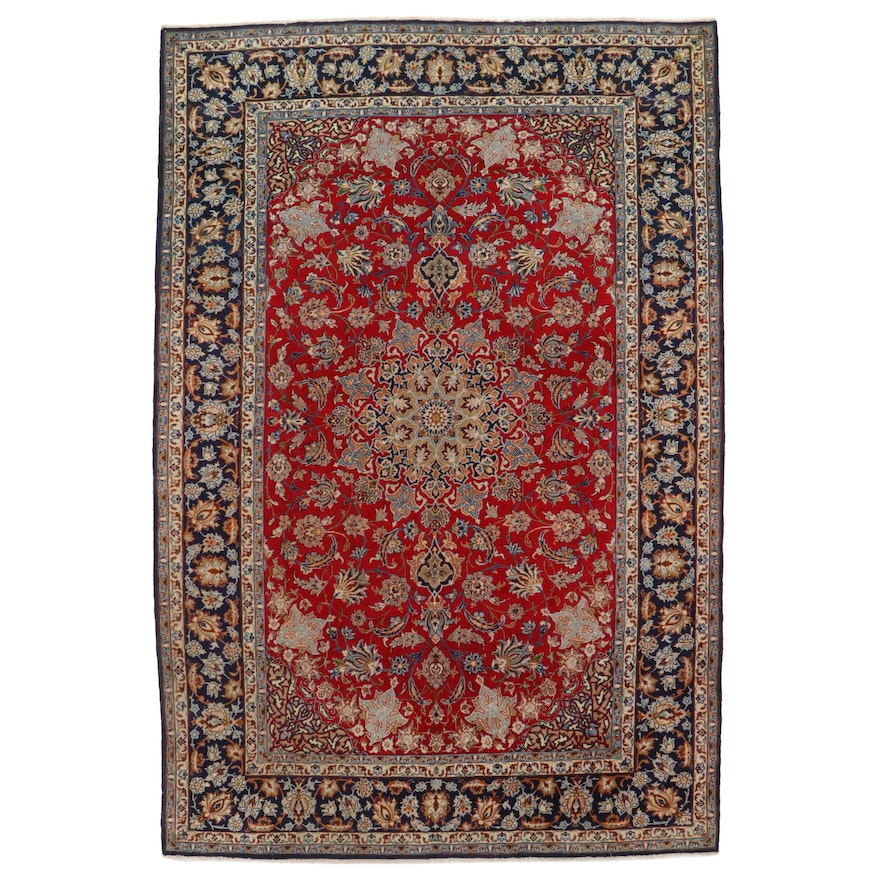 9'2 x 13'8 Hand-Knotted Persian Isfahan Room Sized Rug, 1970s