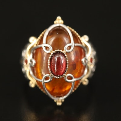 Sterling Amber, Garnet and Topaz Ring