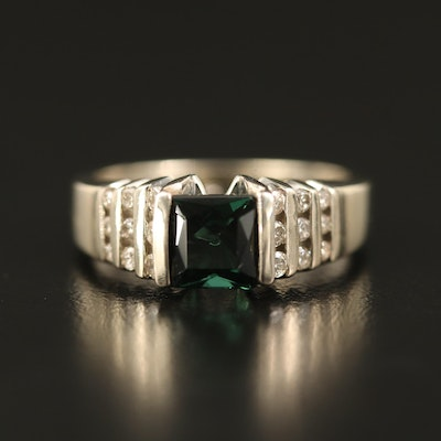 14K Tourmaline Ring with Diamond Channel Shoulders