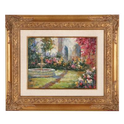 Courtyard Garden Oil Painting, 21st Century