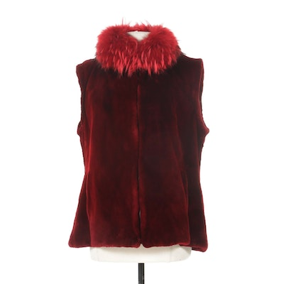 Musi Red Dyed Sheared Mink Vest with Fox Fur Trim