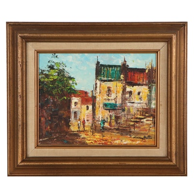 Mary Botto European Street Scene Oil Painting, Late 20th Century