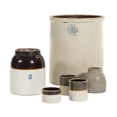 Salt Glazed Stoneware Crocks and Jars, 20th Century