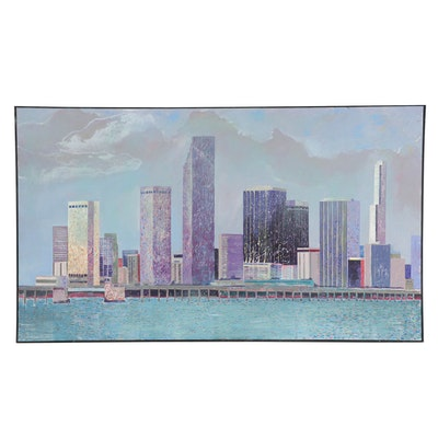 Eduardo Oliva Large-Scale Acrylic Painting of a Cityscape, 1986