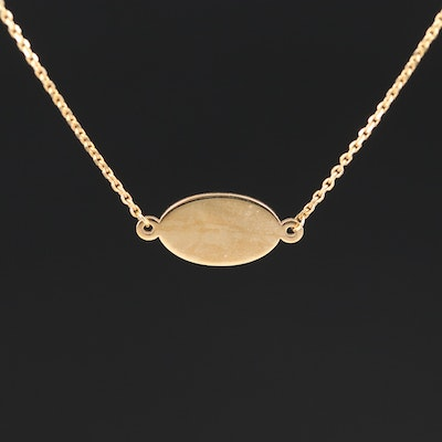 Turkish 14K Stationary Oval Pendant Necklace