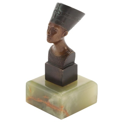 Bronze Nefertiti Miniature Bust on Polished Green Onyx Base