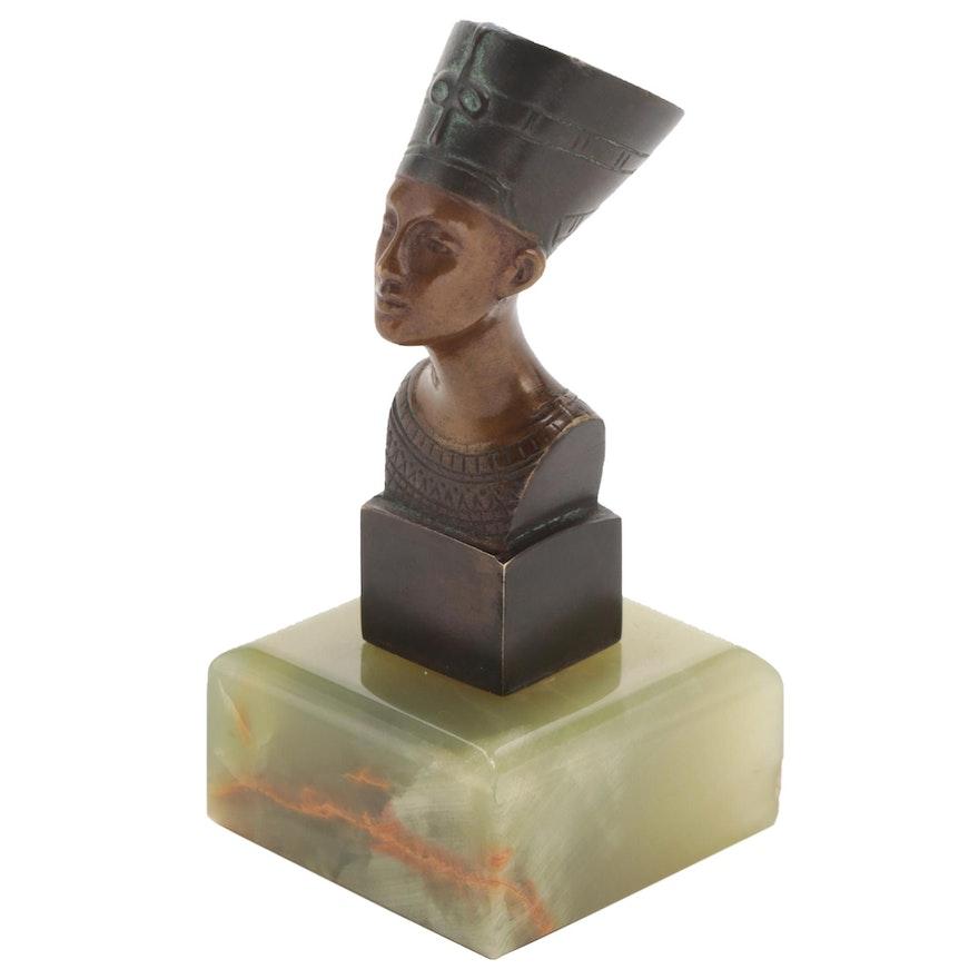 Bronze Nefertiti Miniature Bust on Polished Green Onyx Base