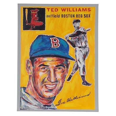 John Stango Pop Art Acrylic Painting of Ted Williams