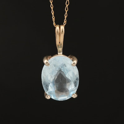 14K Oval Faceted Topaz Solitaire Pendant Necklace