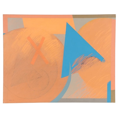 Walter Stomps Large-Scale Abstract Acrylic Painting, 1980