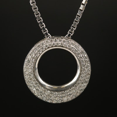 14K Diamond Disc Pendant on 18K Box Chain Choker