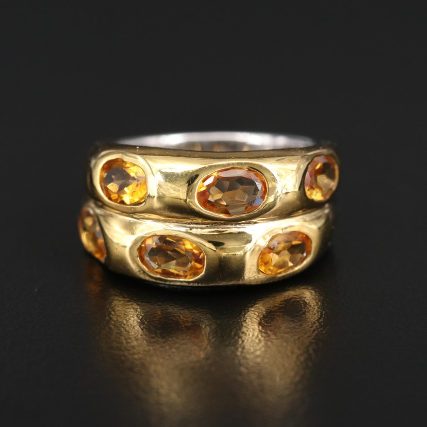 Sterling Citrine Double Row Tapered Band