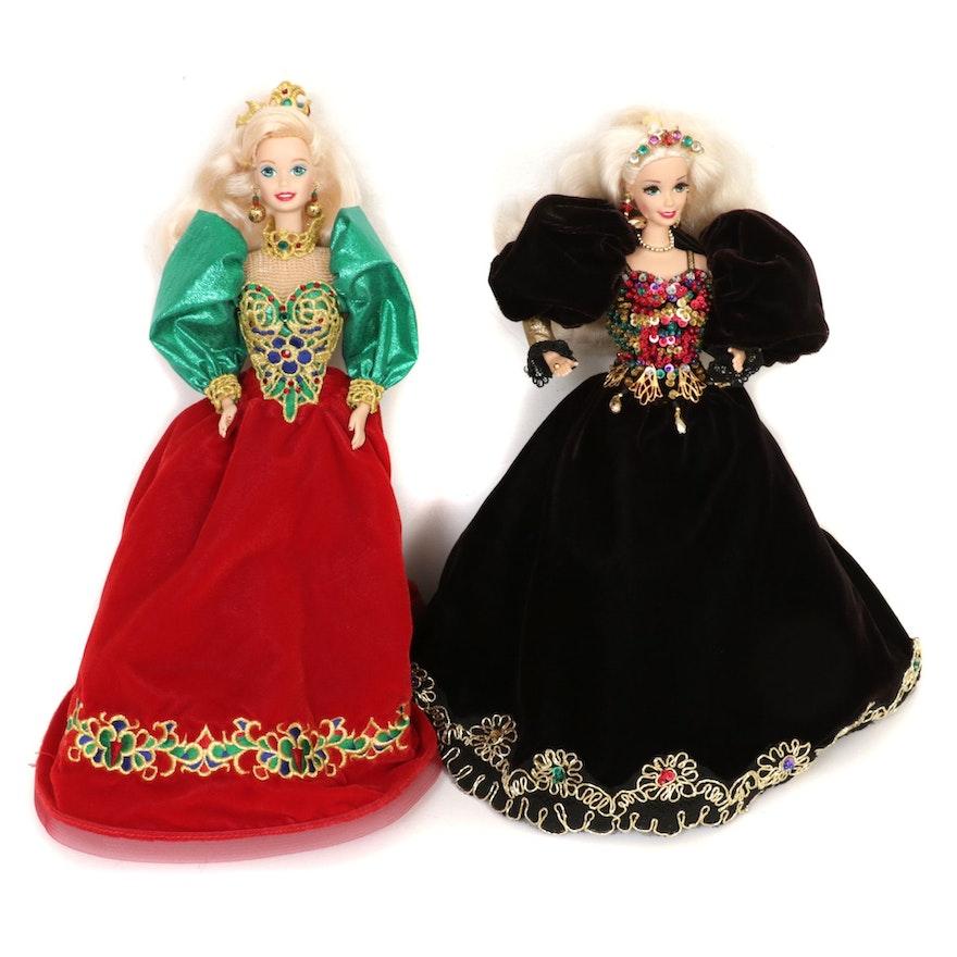 "Barbie ""Holiday Jewel"" Porcelain Doll and ""Jeweled Splendor"" Doll"